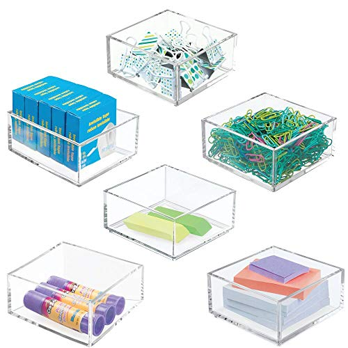 """mDesign Plastic Stackable Drawer Organizer for Home Office, Desk Drawer, Shelf or Closet to Hold Staples, Highlighters, Adhesive Tape, Paper Clips, Stamps - 4"""" Square, 6 Pack - Clear"""