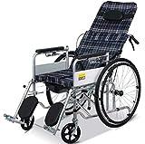 gjx silla de ruedas multifunción, silla de ruedas Portatil Plegable de acero, silla de ruedas eléctrica de mano para discapacitados, Color Negro, Azul y Cuero tres opcional