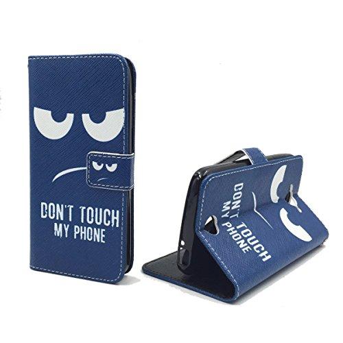 König Design Handyhülle Kompatibel mit Acer Liquid Z530 Handytasche Schutzhülle Tasche Flip Case mit Kreditkartenfächern - Don't Touch My Phone Weiß Dunkelblau