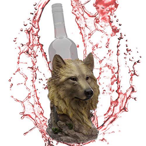 mtb more energy - Soporte para botellas de vino (20 cm), diseño de lobo blanco