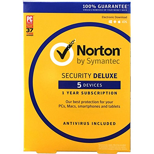 Symantec Norton Security Deluxe,5 Devices 1 Year Anti-Virus PC/Mac/Android/iOS, New