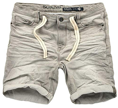 Sublevel Herren Sweat Jeans Shorts Kurze Hose Bermuda Sommer Sweathose Slim [B586-Hellgrau-Washed-W31]