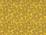 Dekostoff Vorhangstoff Satin Ornamente Paisley Muster gelb