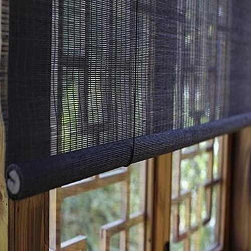 Geovne Persiana de Bambú,Estores de Bambú de Opaca Negra,Persianas de Bambú,Estor Enrollable de Bambú,60% de Sombreado,Uso en Interiores Y Exteriores,Fácil de Instalar (75x90cm/29.5x35.4in)