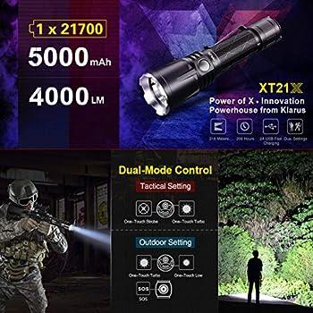 Klarus XT21X+ 4 000 lumens Lampe torche tactique LED 4 000 lumens, portée max 316 m, IPX8, batterie rechargeable de 5 000 mAh avec charge externe par micro USB