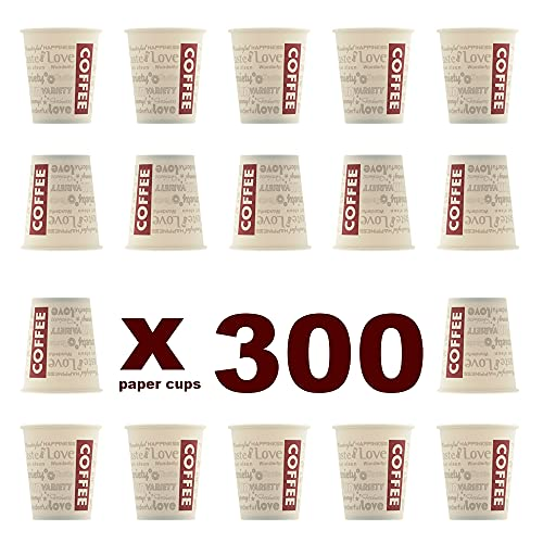 Evercups 300 Vasos Desechables de Café para Llevar - Vasos Cartón 200ml / 8oz y Agitadores de Madera para Servir el Café, el Té, Bebidas Calientes y Frías. 100% reciclable. Tazas Cafe. Coffee to go.