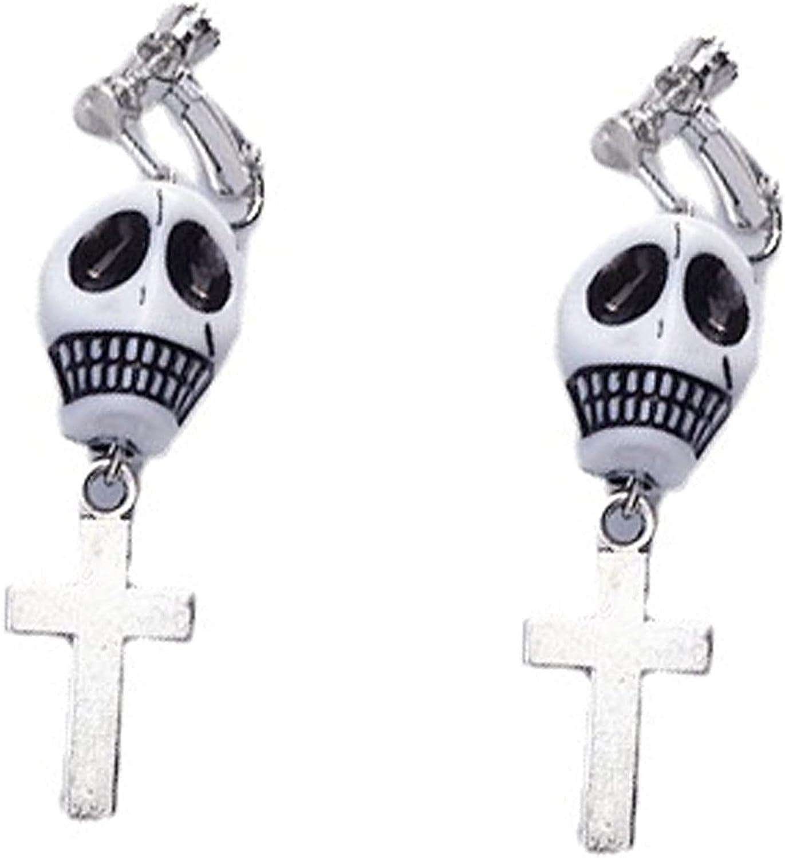 Halloween Skull Cross Earrings,Clip on Earrings Non Pierced,Dangle Earrings,Punk Fashon Jewelry for Women Teen Girls