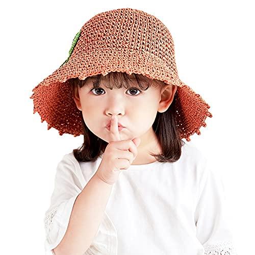 ZHANGYAN Sombrero de Paja Hueca de ala Ancha para niños, UPF 50+ Sombrero Plegable, Sombrero de Pescadores, Sombrero de Cubo, 3-6 años (Color : Caramel, Size : 48-52cm/18.8-20.4in)
