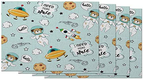 aipipl Manteles Individuales para Perros Space Animal Astronaut Canine Cute Cartoon Cosmic Planet Star Earth Ship Manteles Individuales para Mesa de Comedor Juego de 4 Cocina Lino de algodón de 12