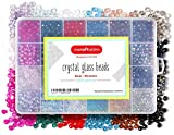 Incraftables Crystal Glass Beads 24 Colors 1200pcs Kit for Jewelry Making, Hair Accessories, & DIY Bracelets. Large 6mm Briollete Rondelle Assorted Crafting Bead with Elastic String for Kids & Adults