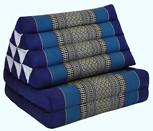 Wifash Colchón Thai 2 Pliegues, con cojín triángulo, Ocio, colchón, Kapok, Playa, Piscina, Fabricado en thailande, Azul (82202)