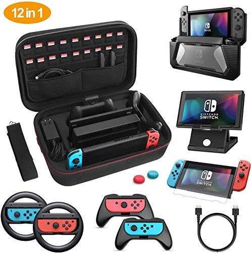 HEYSTOP Tasche für Nintendo Switch, 12 in 1 Zubehör für Nintendo Switch Hülle, Tragetasche Case, Schutzfolie, Spielständer, Joy-Con Griffe und Lenkrad, Ladegerät Kabel,Joystick Kappen (Grau)
