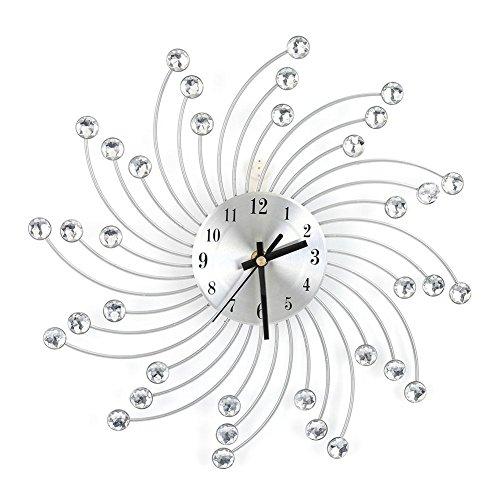 Reloj de pared de metal, diseño redondo moderno Colgante de pared Espiral Reloj de diamante Cristal adornado con joyas Flor en forma de reloj de borde para sala de estar Dormitorio Oficina Plata, 11.8