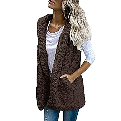 TOTOD Women Sherpa Vest Jacket Casual Faux Fur Zip Up Lambs Plush Sleeveless Hoodie Outwear with Pockets Coffee from