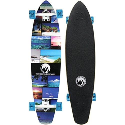 Paradise Longboard Complete Island Life Kicktail Cruiser Skateboard 9.5 x 40.25