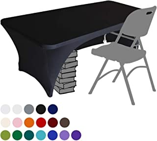 Eurmax Spandex Table Cover 6 ft. Fitted 30+ Colors Polyester Tablecloth Stretch Spandex Table Cover-Table Toppers,6 FT Table Cover Open Back(Black)