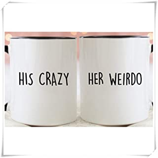SkyLine902 - Funny Couples Gift Set, His Crazy Her Weirdo, Cute Quirky Anniversary Coffee Mugs With Black Handle, Set of 2, 11oz Ceramic Coffee Novelty Mug/Cup