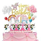 Ulikey Unicornio Decoración de Tartas Cumpleaños, Cake Topper Unicornio Decoracion Happy...