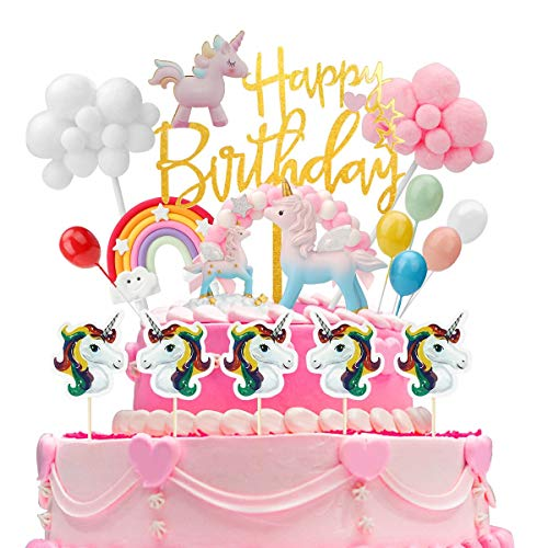Ulikey Unicornio Decoración de Tartas Cumpleaños, Cake Topper Unicornio Decoracion Happy Birthday Banderines Globos Arcoiris Decorar Tartas Infantiles Niñas