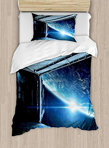 Girls Boys Child Twin Bed Sheet Sets, Outer Space Duvet Cover Set, Interstellar Airlock Shuttle Runway Gate Journey to the Stars Invasion View, Include 1 Duvet Cover 1 Bed Sheet and 2 Pillow Cases