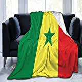 Delerain Weiche Überwurfdecke mit der Flagge von Senegal, 101,6 x 127 cm, leichte Flanell-Fleece-Decke für Couch, Bett, Sofa, Reisen, Camping, für Kinder & Erwachsene