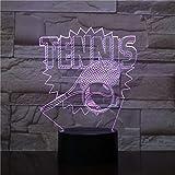 Raquette De Tennis Lumière De Nuit 3D Illusion Lampe De Table Led 16 Couleur Tactile Télécommande Humeur Lampe Usb Maison Chambre Lampe De Chevet Cadeau D'Anniversaire Pour Petit Bébé
