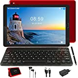 Tablette Tactile 10 Pouces Android 9.0 Tablettes avec Quad Core 3 Go de RAM et 32 Go ROM et Dual SIM Call, HD IPS, Double Caméra (WiFi Bluetooth GPS) avec Clavier Bluetooth, Rouge