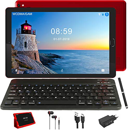 Tablet 10 Pollici IPS GOODTEL Tablets Android WiFi e 4G LTE, 32 GB ROM + 3 GB RAM Quad Core, Dual SIM Call Doppia Fotocamera GPS Bluetooth Media con Tastiera Bluetooth, Rosso