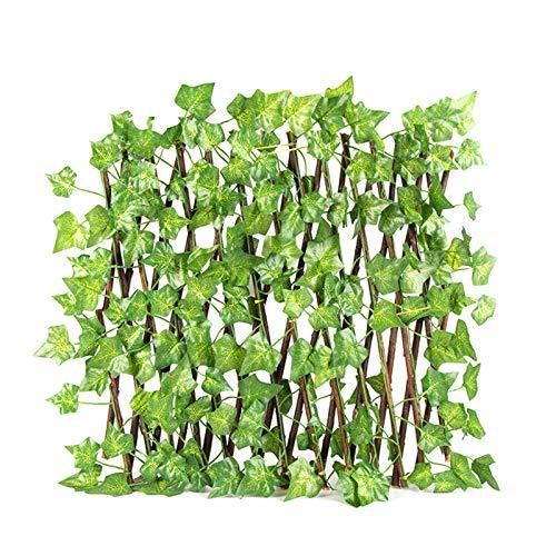 Duomu - Recinzione artificiale a foglia da 40 cm, recinzione a foglia regolabile, recinzione decorativa in rattan, utilizzata per la decorazione esterna del giardino