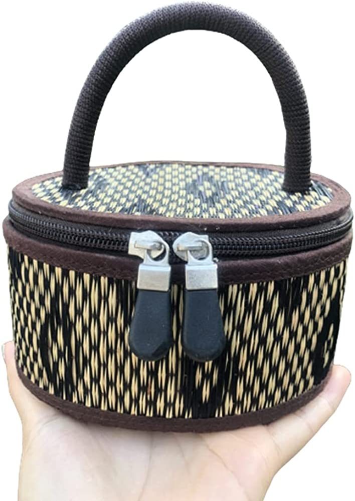 The eight gallery Round bags for women Products processed from reed mats Handmade work Top-Handle Bags Purse Brown New Classic beautiful