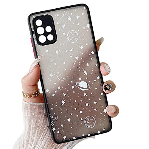 ZTOFERA Kompatibel mit Samsung Galaxy A51 4G Hülle, Planet Stern Universum Muster Schutzhülle Matt Harte PC Rückseite Hülle mit Silikon Bumper Cover Handyhülle für Samsung Galaxy A51 4G, Weiß Sky