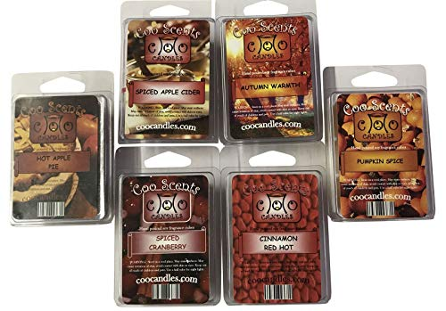 6 Pack Soy Blend Wickless Candle Wax Bar Melts - Autumn Spice Pack - Great for Fall or Winter. Pumpkin Spice, Cinnamon Red Hot, Spiced Apple Cider, Spiced Cranberry, Hot Apple Pie, and Autumn Warmth
