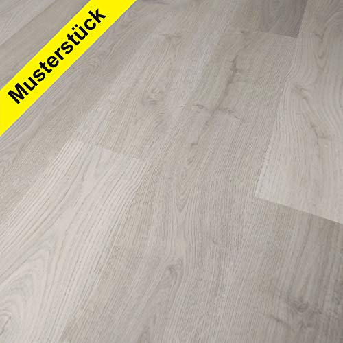 TRECOR® Klick-Vinylboden Eiche Landhausdiele grau HDF 10,5 mm Stark, 0,30 Nutzschicht, Sie kaufen 1 x MUSTERSTÜCK mit 45 cm (Vinylboden | Musterstück, Eiche Hell Landhausdiele)