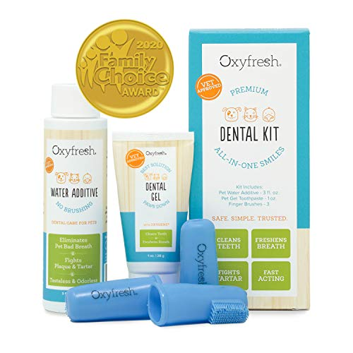 Oxyfresh Premium Pet Dental Kit from Fight Bad Breath in Dogs amp Cats  Easy Safe amp Effective Solution  Travel Size  Unflavored Pet Toothpaste Pet Fingerbrush and Pet Water Additive