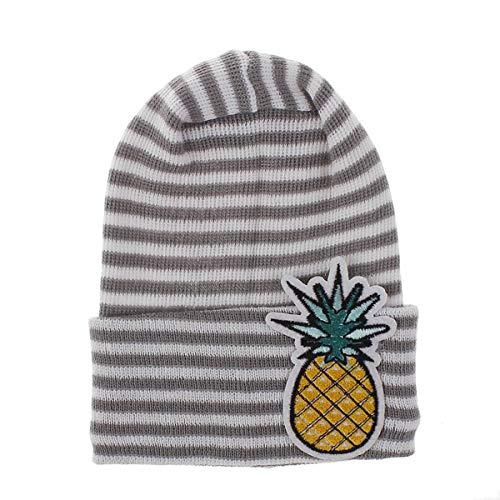 Borlai gebreide muts voor baby's, voor de winter, zacht en warm, bedrukt met cartoon-patroon, schattige hoed 0-6 m