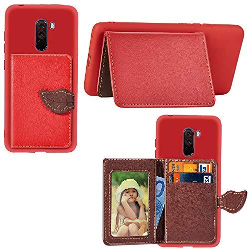 Artfeel Hülle für Xiaomi Pocophone F1 Brieftasche Hülle Rot,Dünn PU Leder Flip Handyhülle mit Kartenhalter,Mode Blatt Magnetverschluss Ständer Geldbörse Stoßfest Schutzhülle