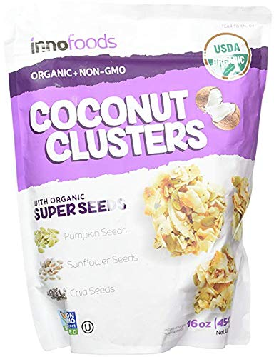 InnoFoods Coconut Clusters with Organic Super Seeds Pumpkin; Sunflower & Chia Seeds 18 ounce (2 Pack)