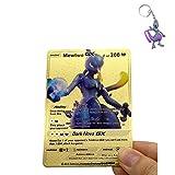 Mewtwo GX Custom Gold Metal Pokemon Card + Keychain