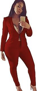 c937425a07b4 Jitong Donna Tailleur Pantalone Maniche Lunghe Cappotto Tuta Blazer Top 2  Pezzi Slim Fit Giacca e