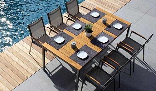 6 + 1 Sitzgruppe Wetterfestes Gartenmöbel Set / Gartengarnitur aus Edelstahl und hochwertigem Robinien-holz bestehend aus 6 Stapel-Sesseln
