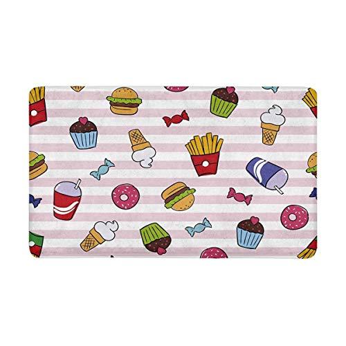 Felpudo, diseño divertido de comida rápida sobre rayas, fritas, helado, donas y hamburguesas, antideslizante, para decoración del hogar, alfombra de entrada, 40 x 60 cm
