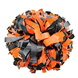 Danzcue 1 Pair 6 Inches Plastic Cheerleading Pom Poms with Dowel Handle, Orange-Black
