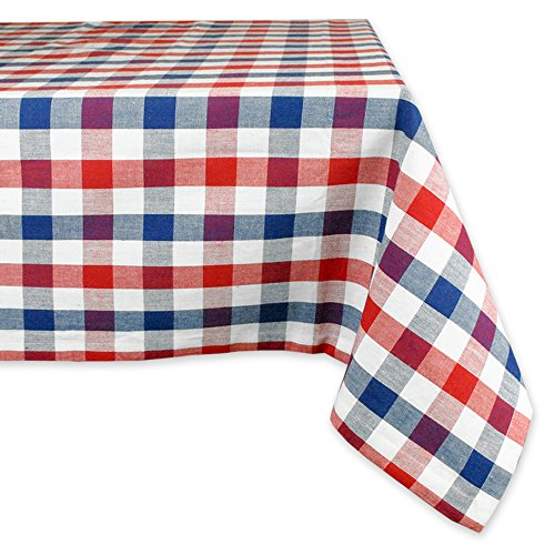 """DII 100% Cotton, Machine Washable, Dinner, Summer & Picnic Tablecloth, 60 x 84"""", Red, White and Blue Check, Seats 6 to 8 People"""