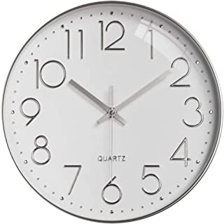 Oukuok Wall Clock 12-inch Silent Digital Clock, Non-Ticking, Battery-Operated, Easy-to-Read Round Clock for Living Room, K...