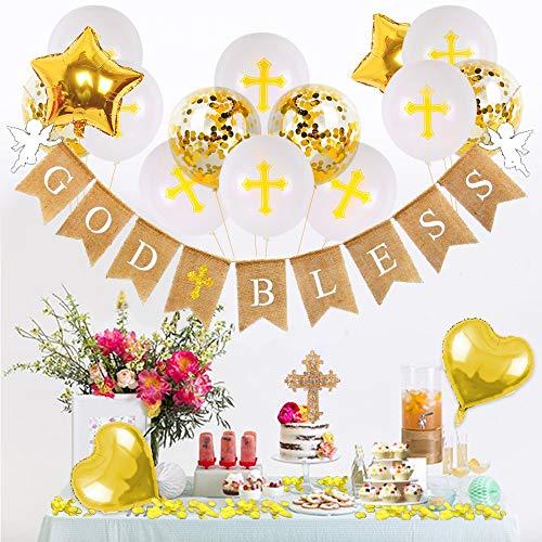 God Bless Banner Bautismo Decoraciones Primera Comunión Decoración Niños Niñas Cruz Cake Topper Kit de Bautizo Confirmación Decoración Oro Blanco Confeti Cruz Globos Juego de 22