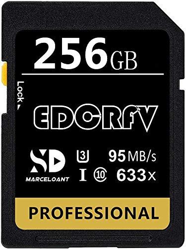 Scheda di memoria professionale SDXC Card 256GB Classe 10 U3 633X UHS-I Scheda di Memoria SD Velocità fino a 95MB/s per telecamere point and shoot, videocamere standard e avanzate HD abilitate (256GB)