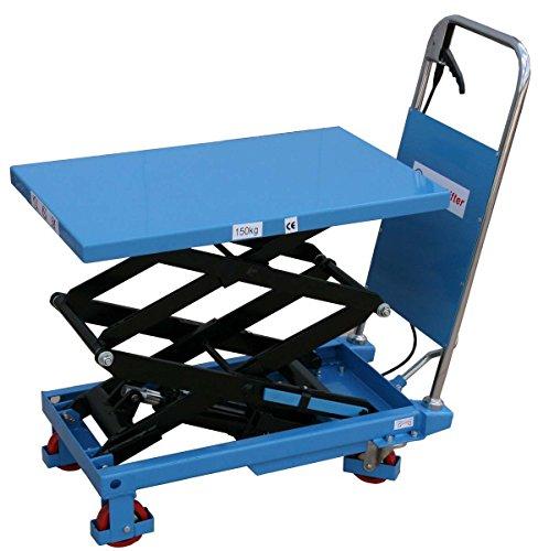 HanseLifter SPS150 mobiler Hubtisch mit 150kg Tragfähigkeit und Doppelschere, Lichtblau