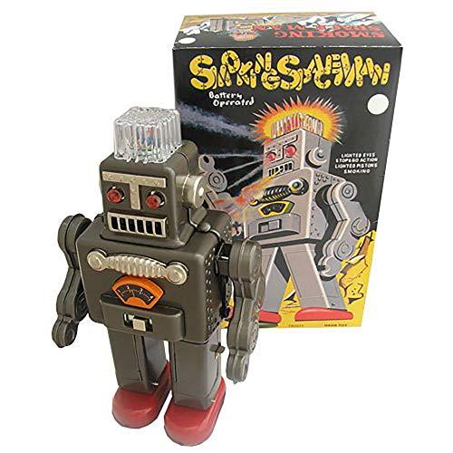 tr2011Smoking Spaceman Robot Toy batteriebetrieben Retro Tin Roboter schwarz