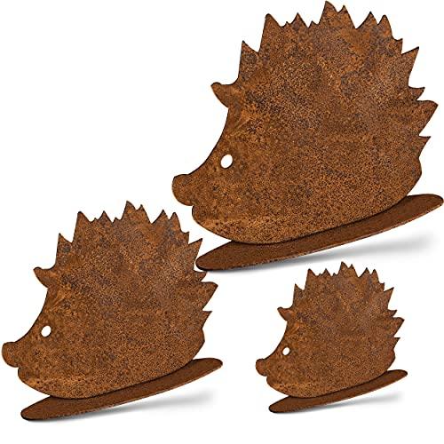 Rostikal   Herbstdeko Igel Figuren   Rost Dekofiguren für Garten und Wohn Herbst Dekoration   3er Set