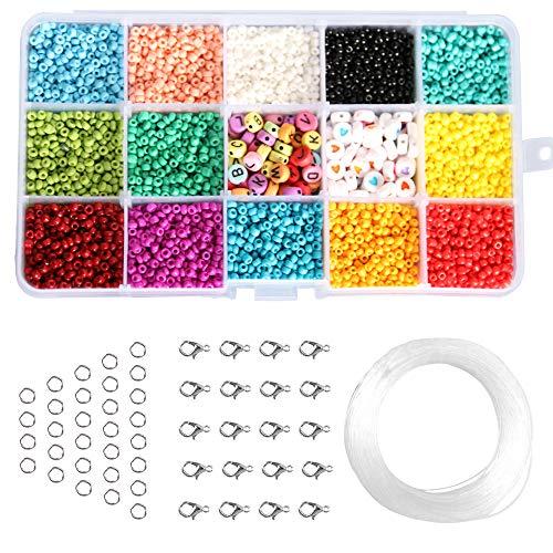 Cuentas de Colores 3mm Meroot Mini Cuentas de Cristal para Hacer Pulseras Cuentas de Letras para DIY Bracelet Cuentas para Joyas Collares Pulseras para Niños